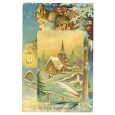1907 German Brown Robe Santa Claus Embossed Christmas Postcard Germany