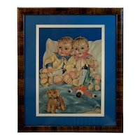 The Twins a Baby Nursery Print by Charlotte Becker