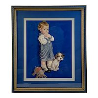 Baby Boy with Dog and Elephant Midcentury Print