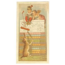 Kitty Cat Star Brand Alpaca Braid Ad Trade Card from Lancaster PA Dry Goods Store Fahnestock's