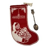1977 Christmas Advertising Stocking Sperry New Holland and Dutch Nativity Spoon WE Holland EPNS