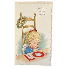 Unused Christmas Card Eve Rockwell Signed by Chilton Cheerie Dearies Cards Praying Angel with Envelope