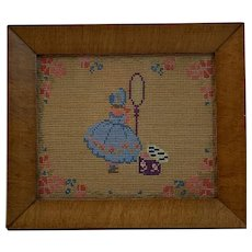 Needlepoint of Little Girl in Blue Dress Original Frame and Label Germantown Philadelphia