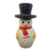 Lego Snowman Bank Vintage Christmas Honeycomb Pattern