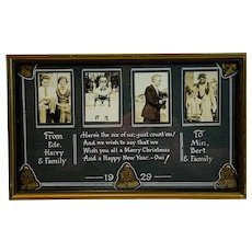 Framed Hand Made Christmas Photograph Card Circa 1929