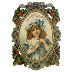 Victorian Die Cut Christmas Card Girl with Dove Bird Holly Bows