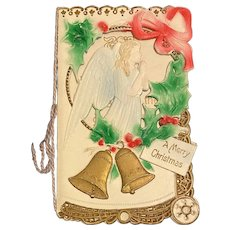 1891 German Victorian Die Cut Christmas Card Booklet Style with Angel Holly and Bells