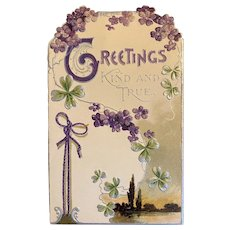 Victorian Die Cut Christmas Card with Violets and Shamrocks