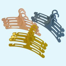 12 Vintage Doll Clothes Hangers Plastic Pink Blue Yellow