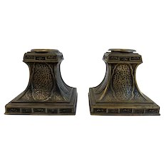 Bronze Art Nouveau Candle Holders Bradley and Hubbard