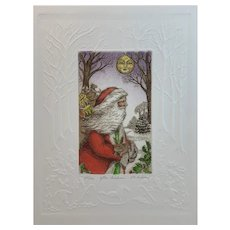 Father Christmas Limited Edition Intaglio Etching R H Badeau