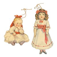 Antique Die Cut Christmas Card Ornaments Baby and Little Girl