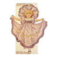 Raphael Tuck & Sons Die Cut Christmas Card with Girl in Purple Dress Printed in Saxony Germany Helen Burnside Poem