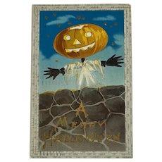 1911 Samson Brothers A Merry Halloween Postcard  Jack O Lantern Scarecrow Embossed