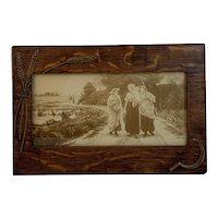 Wheat Sheaf Hand Scythe Oak Frame Sepia Print Women Dog Ducks Baby