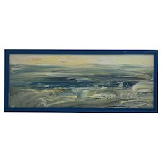 Seascape by Mella Naylor signed Melania Midcentury Abstract Art Oil Painting