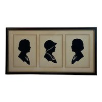 Mother and Two Daughters Hand Cut Silhouettes Circa 1930s