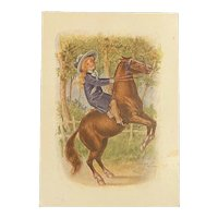 Coffee Advertising Victorian Trade Card Rearing Horse Girl Rider Reynolds Reliance Tea Olive Oil