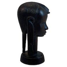 Ebony Wood Hand Carved Female Bust