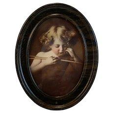 Cupid Asleep Framed Photograph by M. B. Parkinson Circa 1897