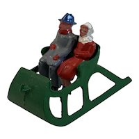 Couple in Open Air Sled at Christmas Toy Figures by Barclay