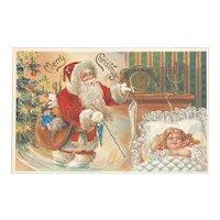 German Embossed Santa Postcard Girl Dreaming Sleeping Christmas Tree