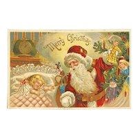 German Embossed Santa Postcard Girl Dreaming Sleeping Christmas Tree Unused Dolls