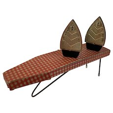 Steam Iron Salt and Pepper Shakers with Ironing Board Midcentury Circa 1950s