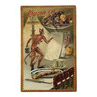 Tucks Hallowe'en Postcard Series 160 Devil Menu Pumpkin Fruit Wine Dinner Table Embossed Raphael Tuck & Sons Halloween