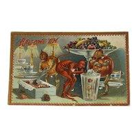 1910 Tucks Hallowe'en Postcard Series 160 Devil Pumpkin Men Candy Ice Cream Float Embossed Raphael Tuck & Sons Halloween