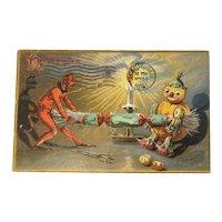 October 31 Postmark on Front 1908 Tucks Hallowe'en Postcard Series 160 Devil Pumpkin Man Pulling Noisemaker Cracker Embossed Raphael Tuck & Sons Halloween