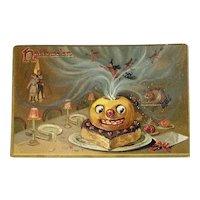 Tucks Hallowe'en Postcard Series 150 Witch Devils Pumpkin Head on Heart Cake Black Cat Embossed Raphael Tuck & Sons Halloween