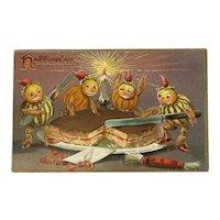 1908 Tucks Hallowe'en Postcard Series 150 Pumpkin Head Men Cutting Cake Embossed Raphael Tuck & Sons Halloween