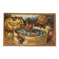 Tucks Hallowe'en Postcard Series 160 Apple Men Jack O Lantern JOL Bobbing for Apples Embossed Raphael Tuck & Sons Halloween