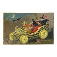 1908 Tucks Hallowe'en Postcard Series 150 Pumpkin Head Man Driving Watermelon Car with Witch Black Cat Bat Embossed Raphael Tuck & Sons Halloween