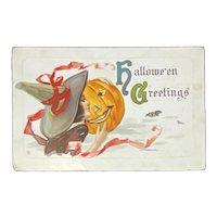 1917 Halloween Postcard Pretty Witch Kissing Jack O Lantern JOL Embossed