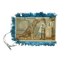 Victorian Silk Fringe Christmas Card Dogs and Children 4 Lithograph Scenes New Year Greeting Folding
