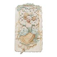 Victorian Die Cut Christmas Card Raphael Tuck & Sons Artistic Series Girl on Swing