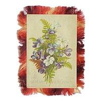 Hildesheimer Victorian Christmas Card Violets and Roses Silk Fringe Multicolor Artist Signed Bertha