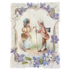 Victorian Die Cut Christmas Card Colonial Couple with Violets Romantic Motif Embossed