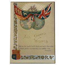 British Patriotic Card Royal Navy Standard Britain Flag Shakespeare Quote Nautical England English Sailing Ship