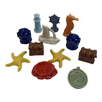 12 Wade Whimsies Nautical Wonderland Series Pottery Miniatures Red Rose Tea Advertising Whimsy
