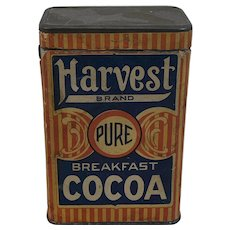 Harvest Brand Pure Breakfast Cocoa Tin with Paper Label