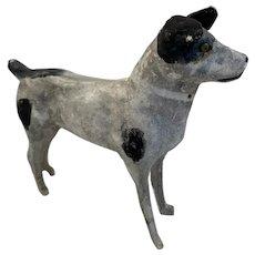 Large Papier Mâche Terrier Dog Wood Stick Legs Black and White Grey Paper Putz Salon Toy