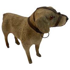 Large Putz Toy Dog Wood Stick Legs Brown Cloth over Papier Mache Salon Toy