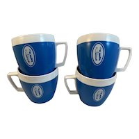 4 West Bend Thermo Serv Coffee Cups Mason Dixon Trucking Line Advertising Blue and White Mid Century Modern Mugs MCM Thermo-Serv