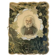 Victorian Christmas Card Longfellow Poetry Embossed Poem A Psalm of Life Booklet Style Die Cut