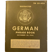 1943 TM 30-606 German Phrase Book World War II 2 WWII WW2 US War Department Booklet