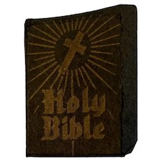 Miniature Bible Printed in USA Black Parchment Cover with Gold Lettering Book