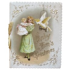 Baby Jim's Christmas Victorian Book by Marie Aston Embossed Die Cut Printed in Munich Germany Art LIthographic Publishing